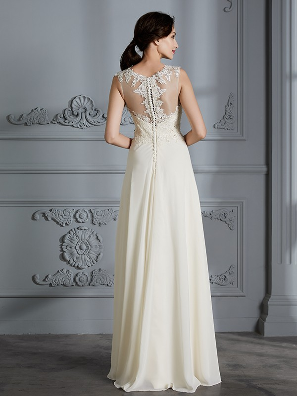 A-Line Scoop Chiffon Sleeveless Floor-Length Wedding Dresses