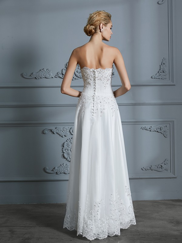 A-Line/Princess Sweetheart Sleeveless Beading Asymmetrical Tulle Wedding Dresses