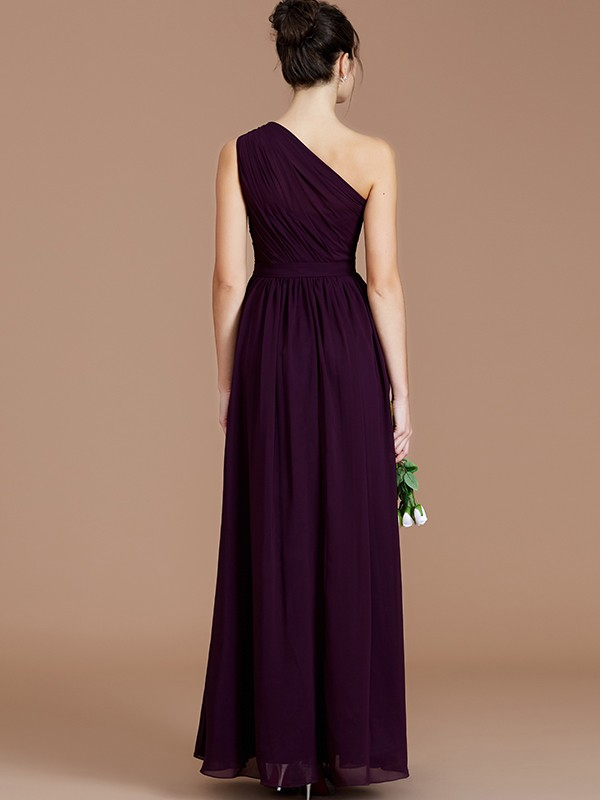 A-Line One-Shoulder Sleeveless Ruched Floor-Length Chiffon Bridesmaid Dresses
