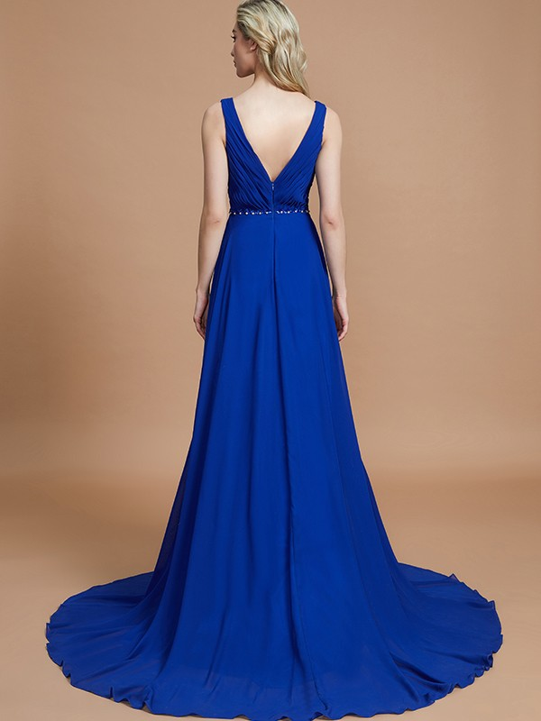 A-Line Sleeveless V-neck Chiffon Sweep/Brush Train Bridesmaid Dresses