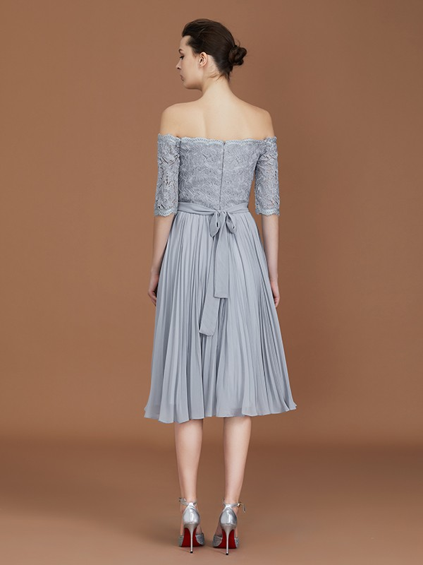 A-Line Off-the-Shoulder Short Sleeves Tea-Length Chiffon Bridesmaid Dress