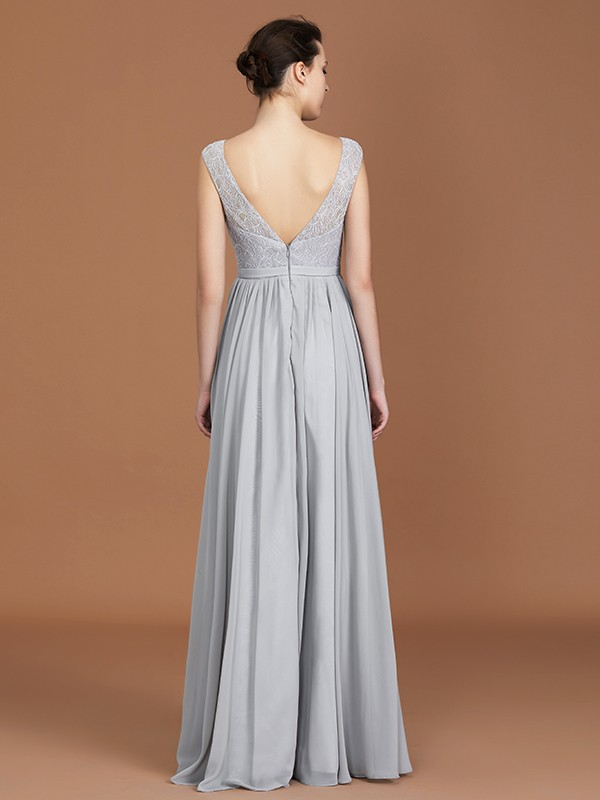 A-Line V-neck Sleeveless Floor-Length Chiffon Bridesmaid Dress