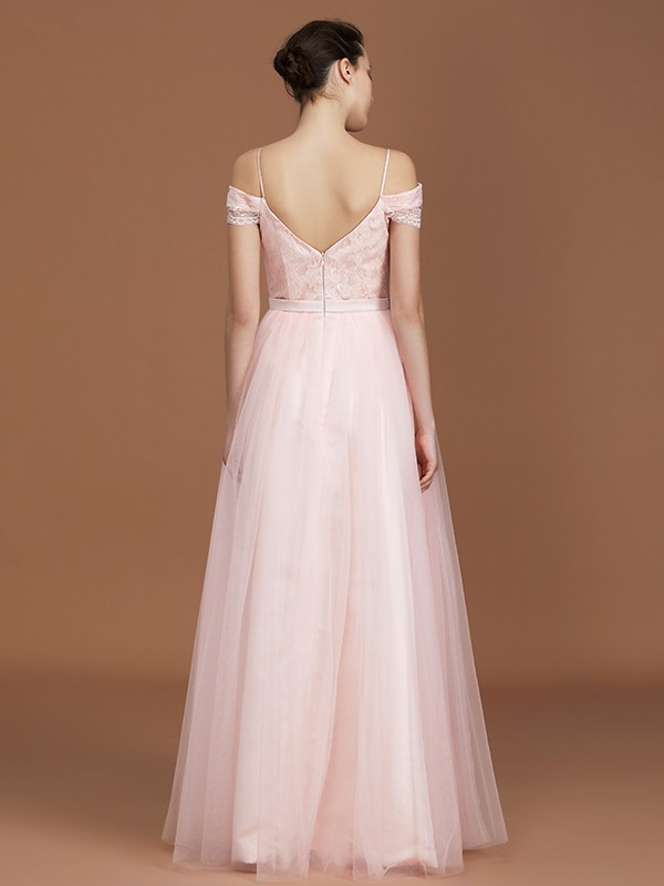A-Line Short Sleeves Spaghetti Straps Sweetheart Floor-Length Tulle Bridesmaid Dress