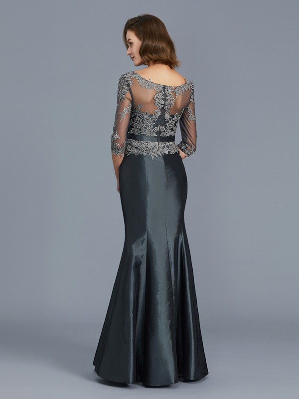 Mermaid Scoop 3/4 Sleeves Floor-Length Taffeta Mother of the Bride Dress