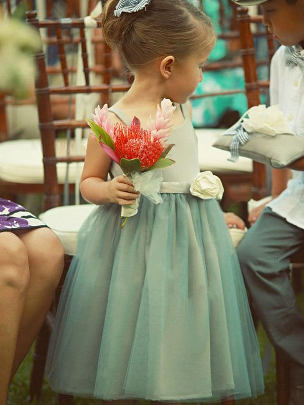 A-Line Sleeveless Square Tea-Length Hand-Made Flower Tulle Flower Girl Dresses
