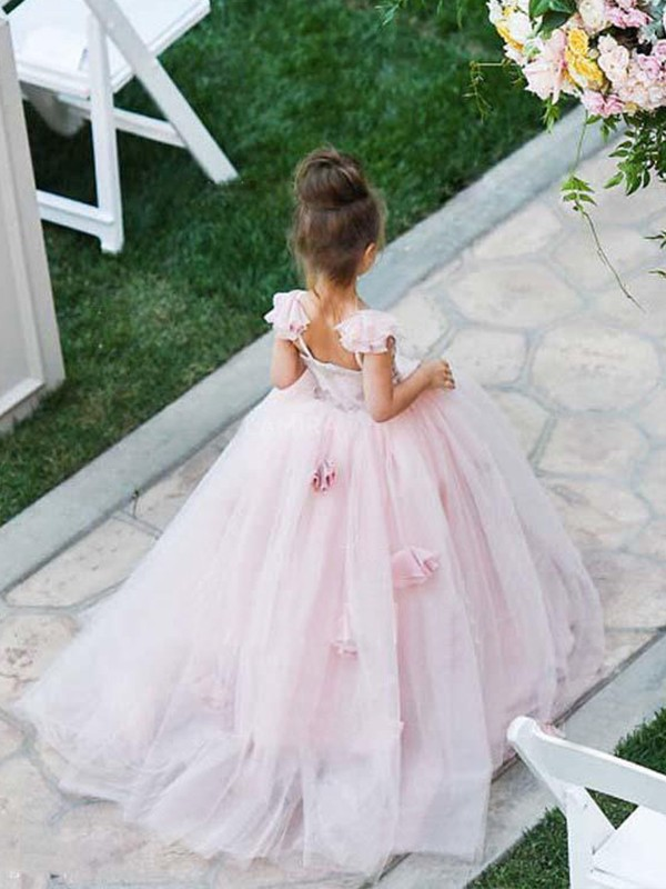 Ball Gown Sleeveless Spaghetti Straps Sweep/Brush Train Applique Tulle Flower Girl Dresses