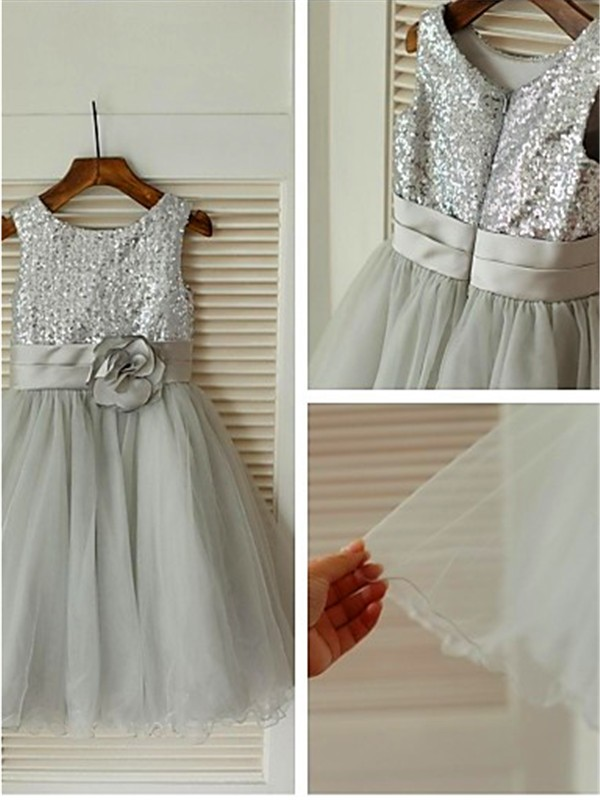 A-line Scoop Sleeveless Tea-Length Tulle Flower Girl Dress