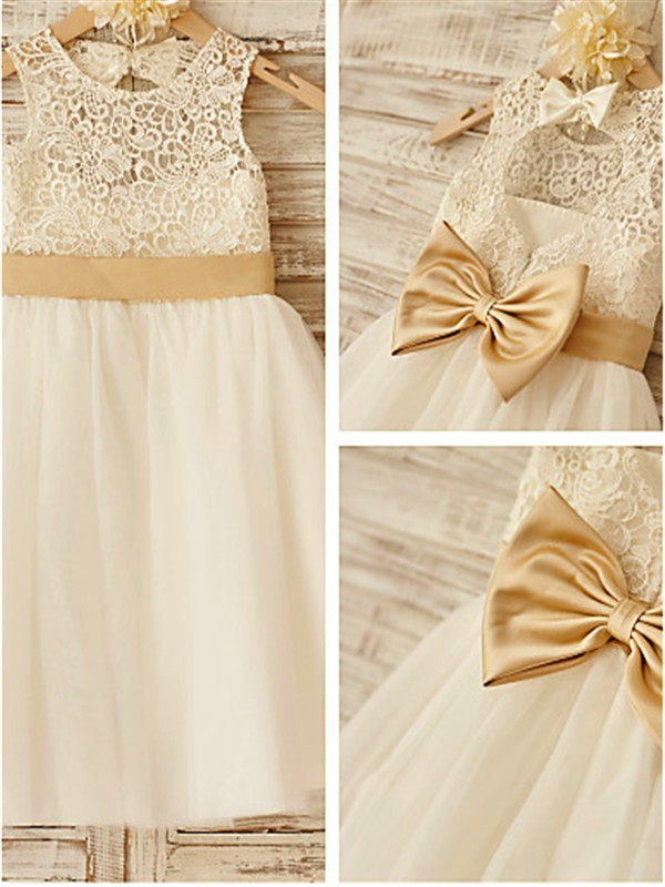 A-line Sleeveless Scoop Knee-Length Tulle Flower Girl Dress