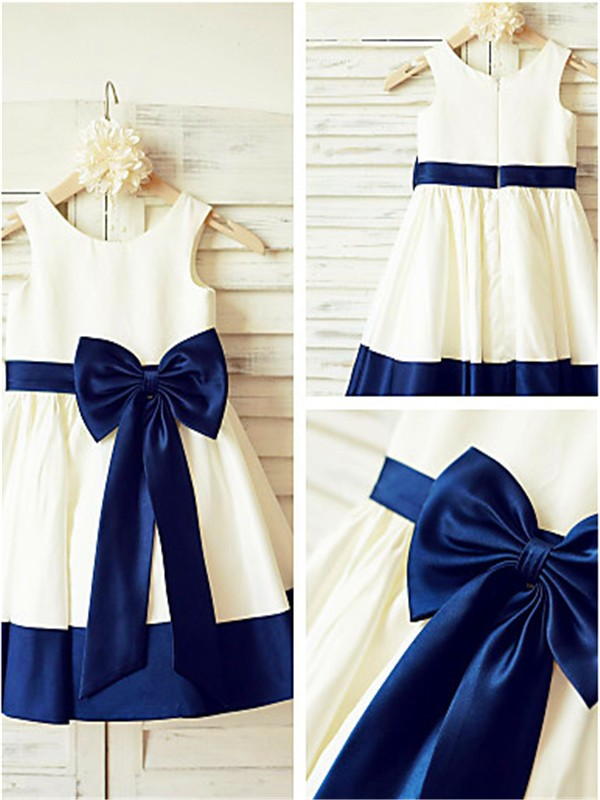 A-line Scoop Sleeveless Tea-Length Satin Flower Girl Dress