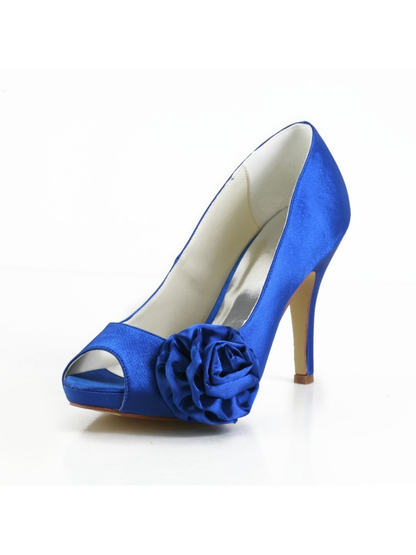Women's Elegant Satin Peep Toe Stiletto Heel Pumps With Flower White Wedding Shoes