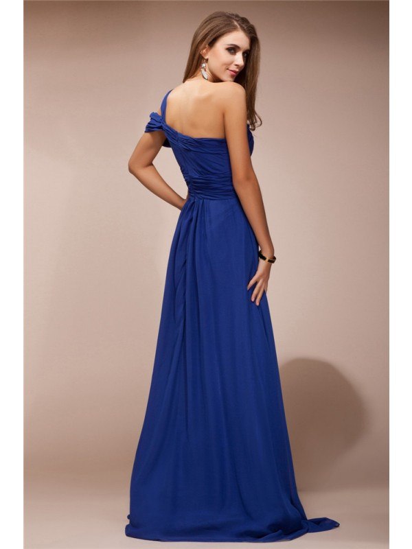Sheath/Column One Shoulder Ruffles Rhinestone Sleeveless Long Chiffon Dresses