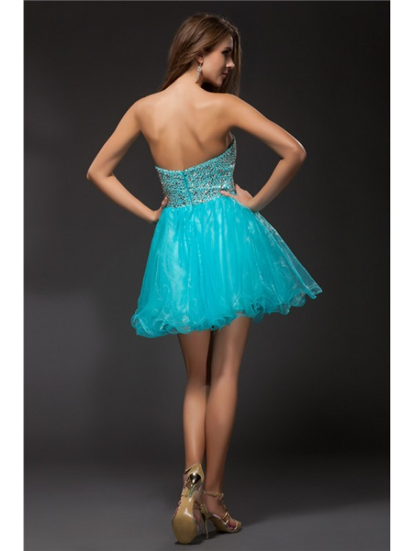 A-Line/Princess Sweetheart Sleeveless Beading Short Organza Cocktail Dresses