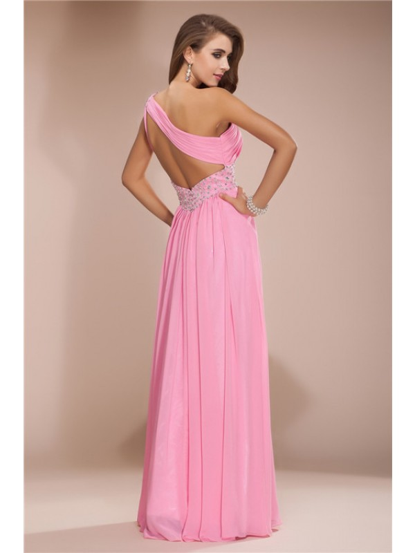 Sheath/Column One Shoulder Beading Long Sleeveless Chiffon Dresses