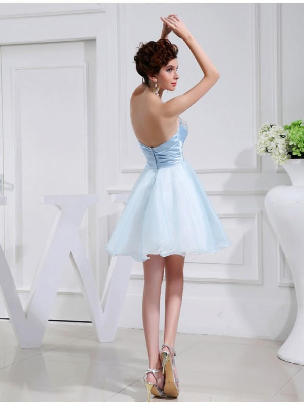 A-Line/Princess Beading Sweetheart Sleeveless Applique Elastic Woven Satin Organza Bridesmaid Dresses