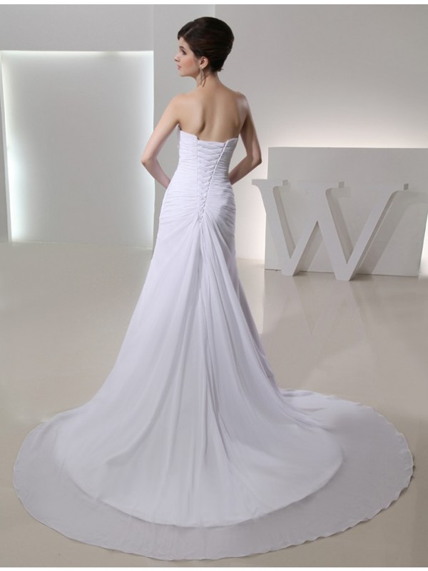 A-Line/Princess Beading Strapless Sleeveless Pleated Chiffon Wedding Dresses