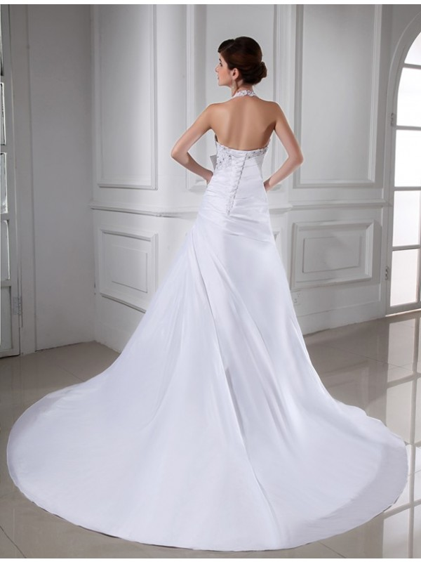 A-Line/Princess Beading Halter Sleeveless Long Taffeta Wedding Dresses