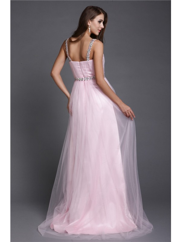 A-Line/Princess Spaghetti Straps Rhinestone Sleeveless Long Net Dresses