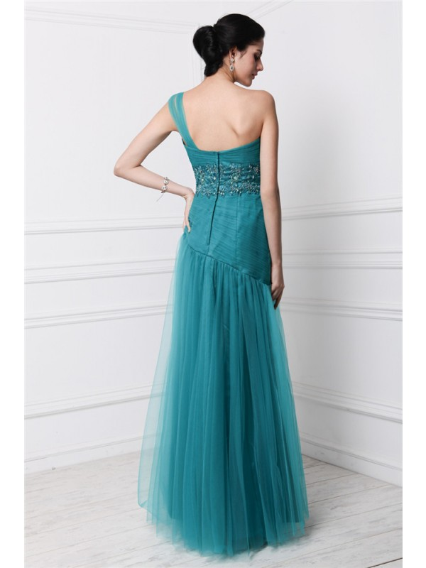 Sheath/Column One-Shoulder Sleeveless Beading Applique Long Net Dresses