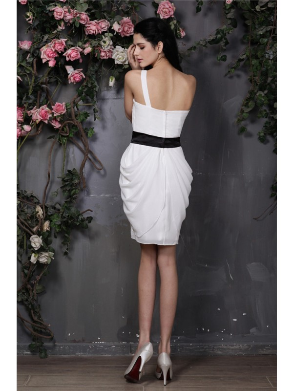 Sheath/Column One-Shoulder Sleeveless Pleats Short Chiffon Cocktail Dresses