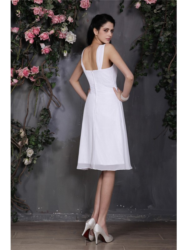 Sheath/Column Straps Sleeveless Pleats Short Chiffon Bridesmaid Dresses