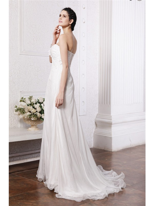 A-Line/Princess Strapless Sleeveless Beading Hand-Made Flower Long Chiffon Wedding Dresses
