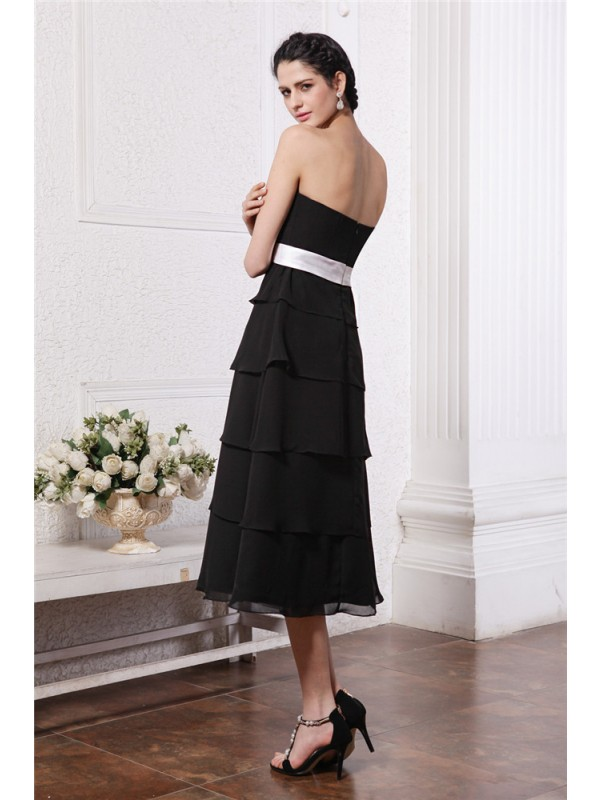 A-Line/Princess Sweetheart Sleeveless Short Sash Ruffles Short Chiffon Bridesmaid Dresses