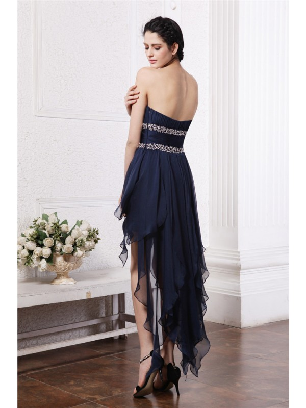 Sheath/Column Strapless Sleeveless Beading High Low Chiffon Cocktail Dresses