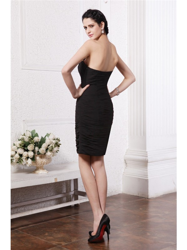 Sheath/Column Sweetheart Sleeveless Beading Pleats Short Chiffon Cocktail Dresses