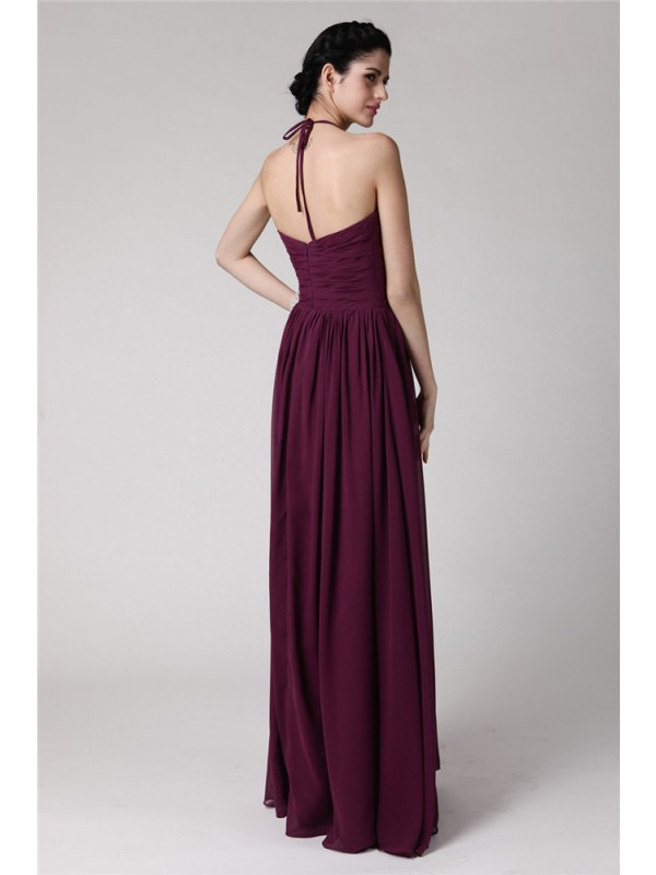 Sheath/Column Halter Sleeveless Hand-Made Flower Long Chiffon Bridesmaid Dresses