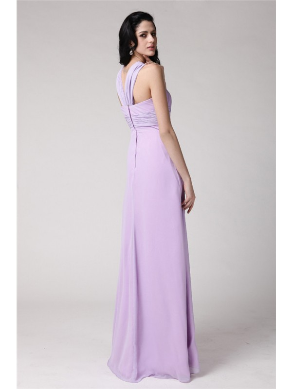 Sheath/Column High Neck Sleeveless Pleats Long Chiffon Bridesmaid Dresses