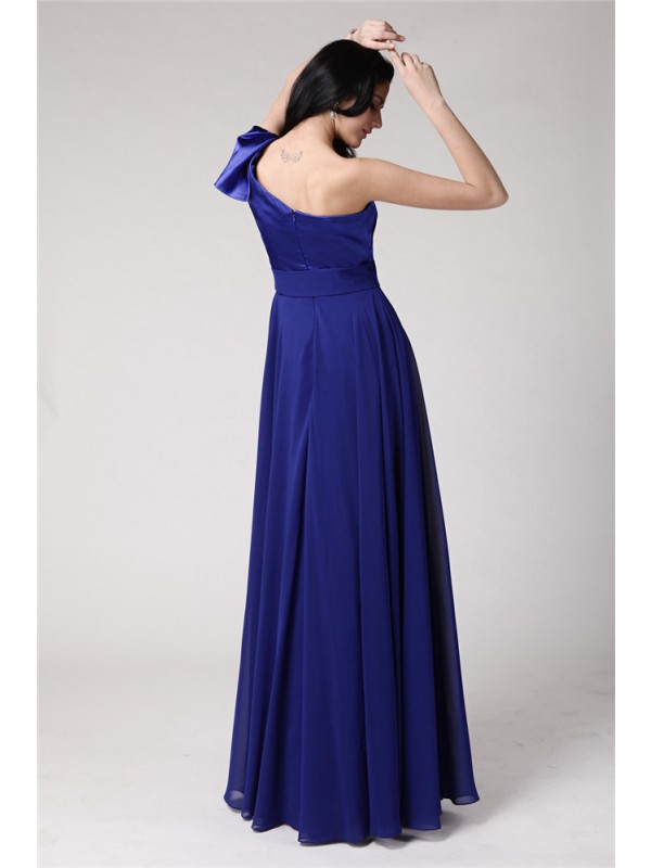 A-Line/Princess One-Shoulder Sleeveless Long Pleats Elastic Woven Satin Chiffon Dresses