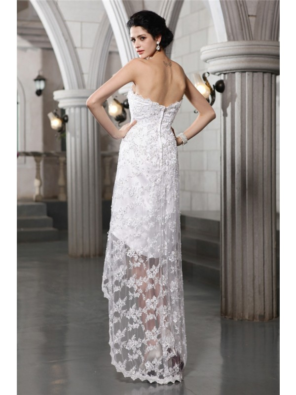 Sheath/Column Strapless Sleeveless Beading High Low Lace Wedding Dresses
