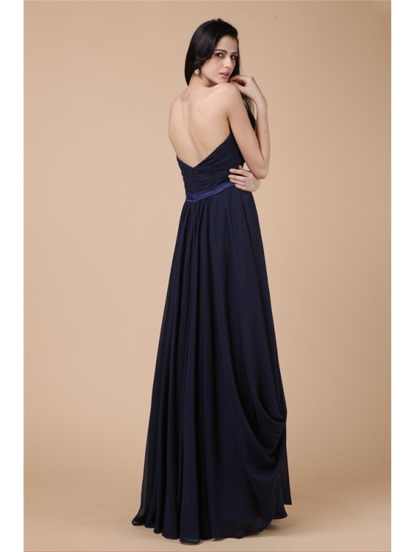 Sheath/Column Strapless Sleeveless Pleats Long Chiffon Dresses