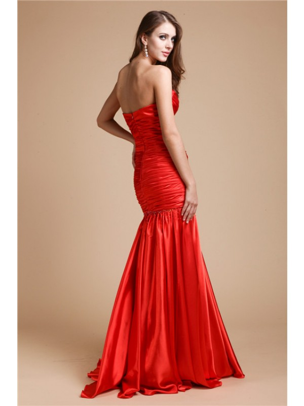 Trumpet/Mermaid Strapless Beading Long Elastic Woven Satin Dresses