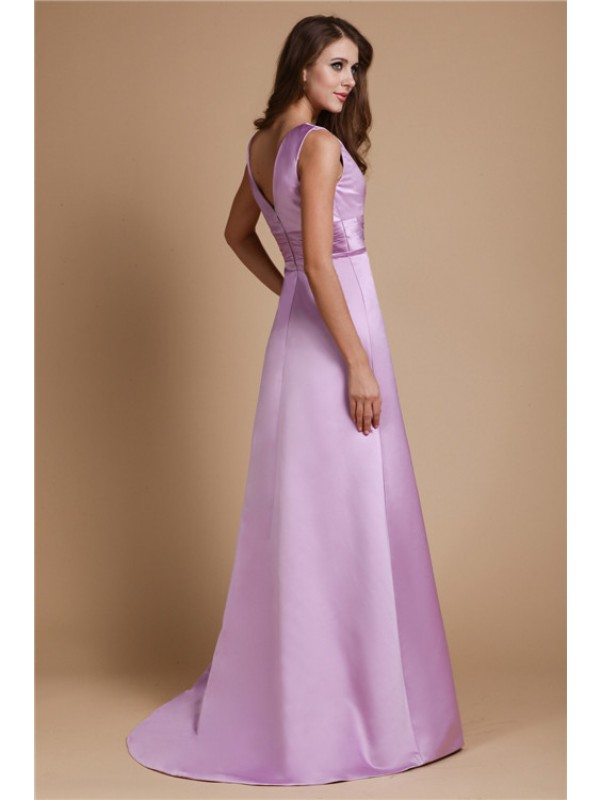 A-Line/Princess V-neck Long Sleeveless Elastic Woven Satin Bridesmaid Dresses