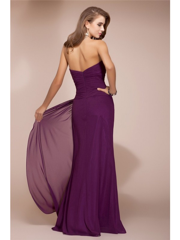 Sheath/Column Sweetheart Sleeveless Long Beading Ruffles Chiffon Bridesmaid Dresses