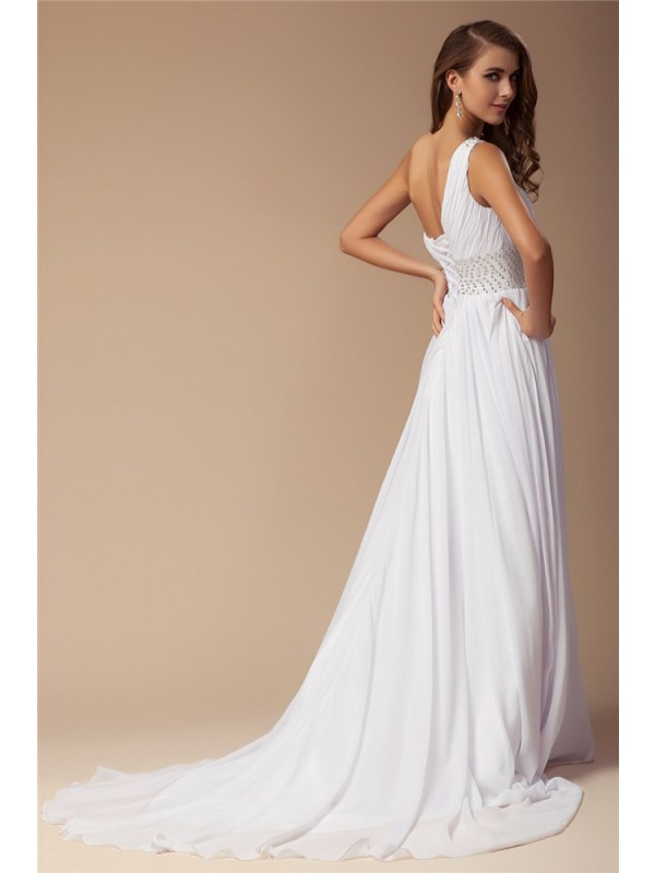 Sheath/Column One-Shoulder Beading Sleeveless Long Chiffon Dresses