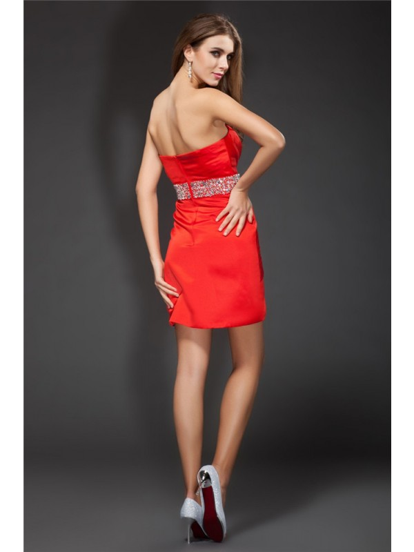 Sheath/Column Strapless Beading Sleeveless Short Satin Cocktail Dresses