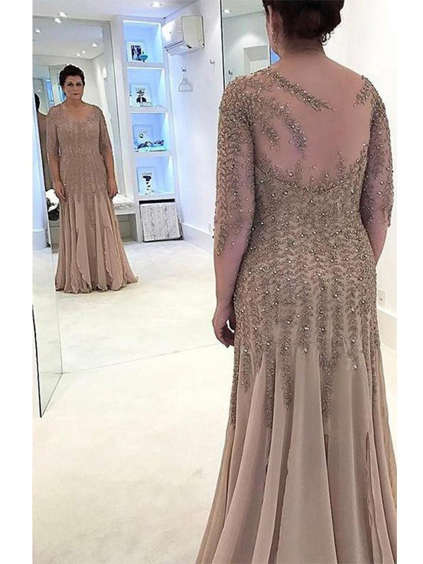 Sheath Sheer Neck Long Sleeves Applique Floor-Length Chiffon Mother Of The Bride Dresses