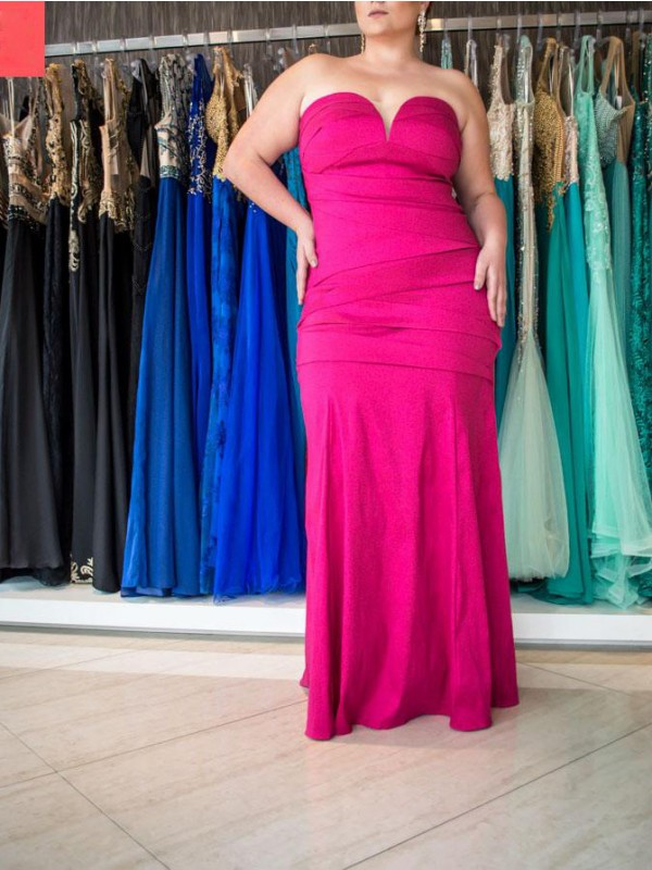 Mermaid Sweetheart Sleeveless Ruched Floor-Length Elastic Woven Satin Plus Size Dresses