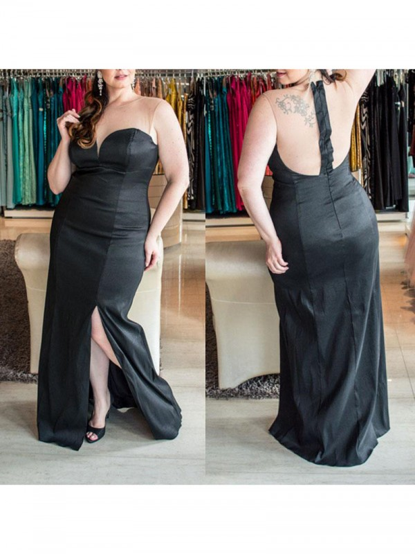 Sheath Sweetheart Sleeveless Ruched Floor-Length Elastic Woven Satin Plus Size Dresses