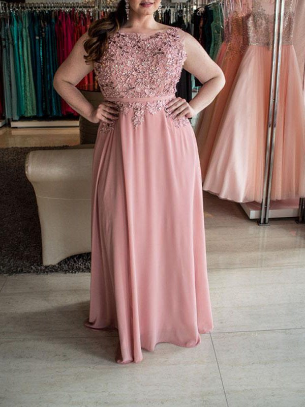 A-Line Bateau Sleeveless Beading Floor-Length Chiffon Plus Size Dresses