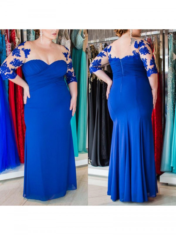 Sheath Sweetheart 1/2 Sleeves Applique Floor-Length Chiffon Plus Size Dresses