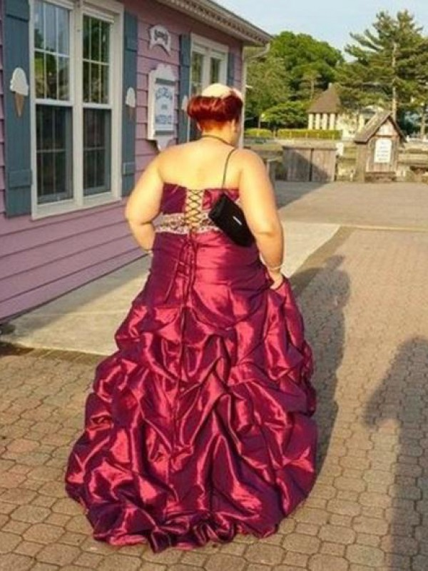 A-Line Strapless Sleeveless Beading Floor-Length Taffeta Plus Size Dresses