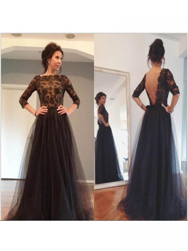 A-Line Bateau 3/4 Sleeves Lace Sweep/Brush Train Tulle Mother Of The Bride Dresses