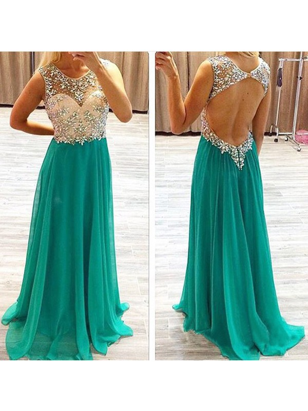 A-Line/Princess Sleeveless Beading Chiffon Sweep/Brush Train Dresses