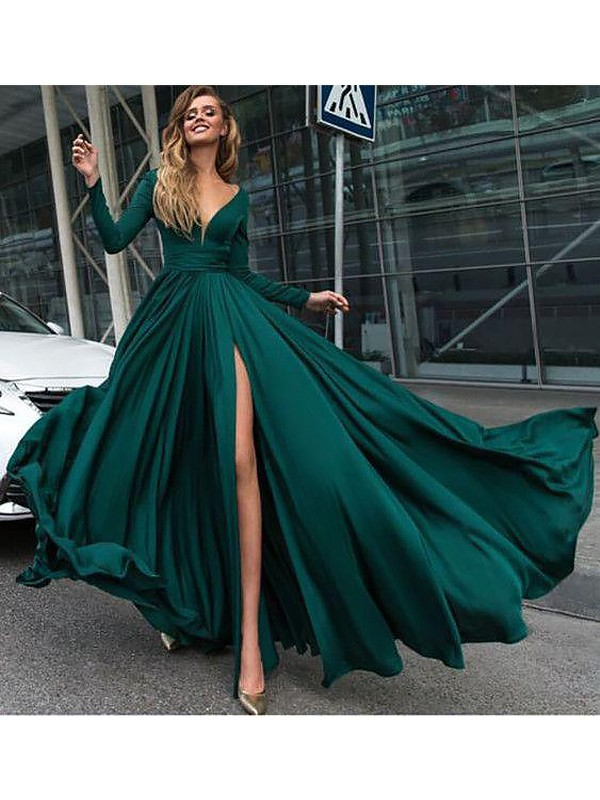 A-Line V-Neck Long Sleeves Sweep/Brush Train Ruffles Satin Dresses