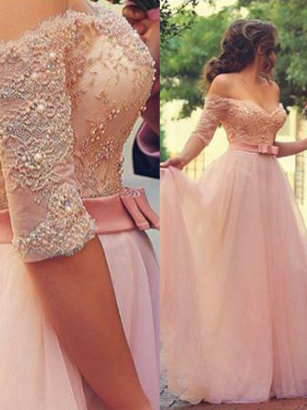 A-Line Off-the-Shoulder 1/2 Sleeves Floor-Length Lace Tulle Dresses