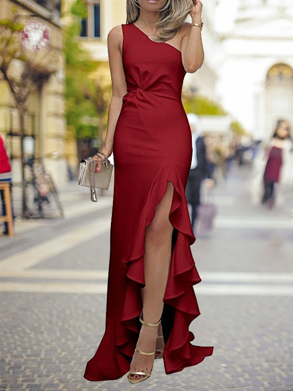 Sheath One-Shoulder Sweep/Brush Train Ruffles Satin Dresses