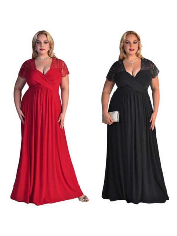 A-Line Short Sleeves V-neck Floor-Length Lace Chiffon Plus Size Dresses